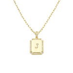 Load image into Gallery viewer, AW Boutique's gold filled 16 inch cable chain necklace finished with a dainty initial pendant with cubic zirconia detail. J initial shown.