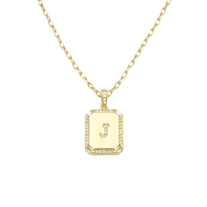 AW Boutique's gold filled 16 inch cable chain necklace finished with a dainty initial pendant with cubic zirconia detail. J initial shown.