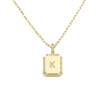Load image into Gallery viewer, AW Boutique's gold filled 16 inch cable chain necklace finished with a dainty initial pendant with cubic zirconia detail. K initial shown.