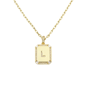 AW Boutique's gold filled 16 inch cable chain necklace finished with a dainty initial pendant with cubic zirconia detail. L initial shown.