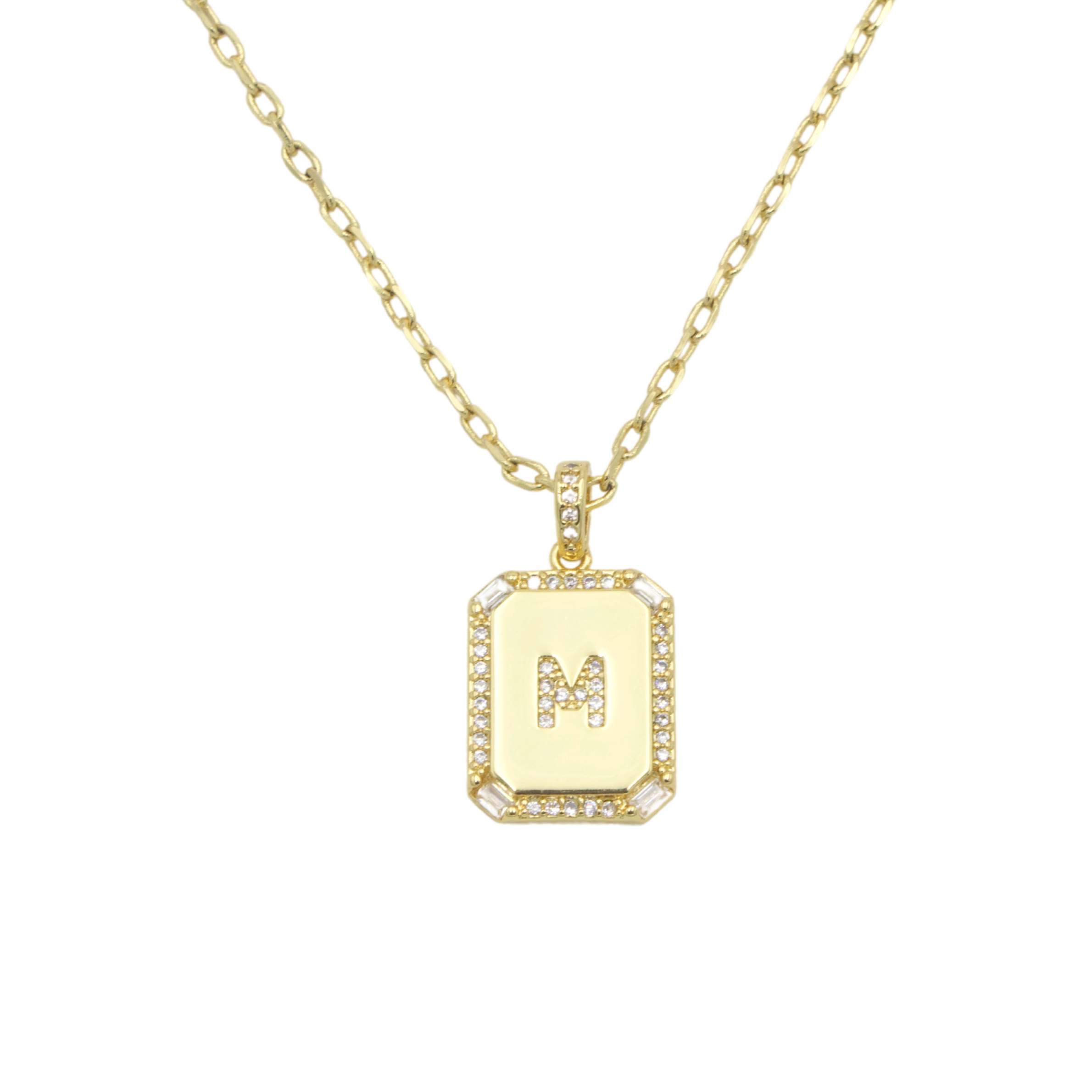 AW Boutique's gold filled 16 inch cable chain necklace finished with a dainty initial pendant with cubic zirconia detail. M initial shown.