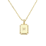 Load image into Gallery viewer, AW Boutique's gold filled 16 inch cable chain necklace finished with a dainty initial pendant with cubic zirconia detail. M initial shown.