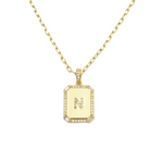 Load image into Gallery viewer, AW Boutique's gold filled 16 inch cable chain necklace finished with a dainty initial pendant with cubic zirconia detail. N initial shown.