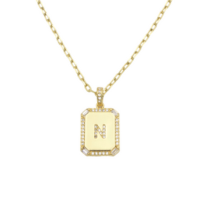 AW Boutique's gold filled 16 inch cable chain necklace finished with a dainty initial pendant with cubic zirconia detail. N initial shown.