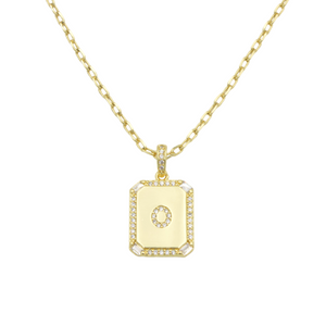 AW Boutique's gold filled 16 inch cable chain necklace finished with a dainty initial pendant with cubic zirconia detail. O initial shown.