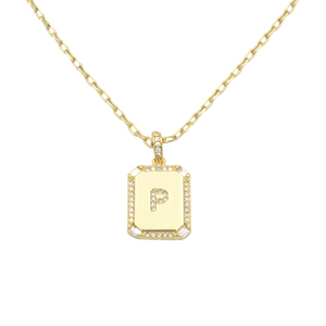 AW Boutique's gold filled 16 inch cable chain necklace finished with a dainty initial pendant with cubic zirconia detail. P initial shown.