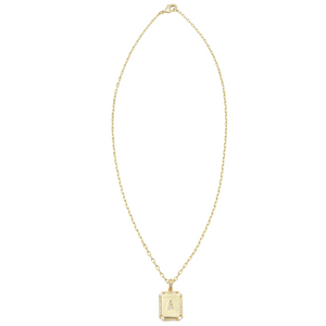 AW Boutique's gold filled 16 inch cable chain necklace finished with a dainty initial pendant with cubic zirconia detail. A initial shown.