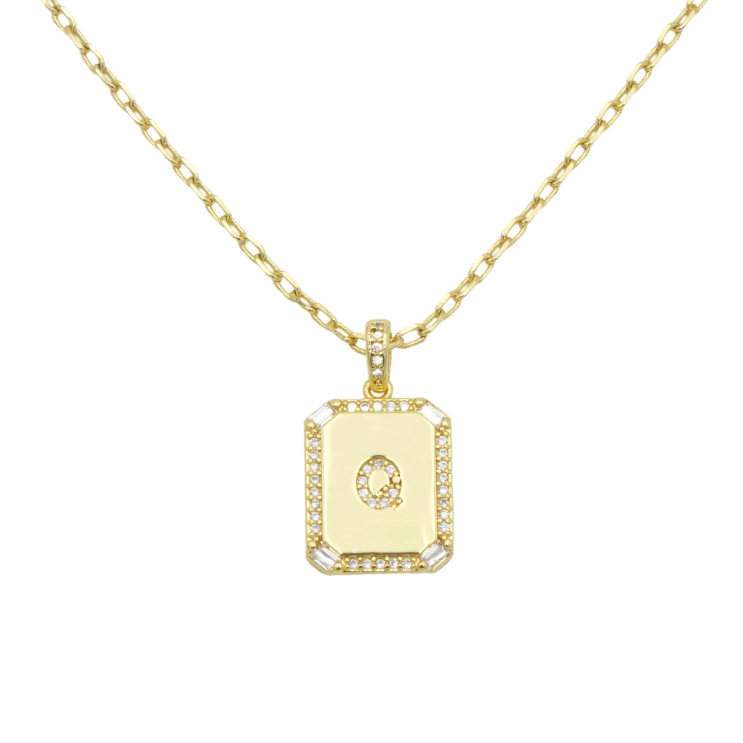 AW Boutique's gold filled 16 inch cable chain necklace finished with a dainty initial pendant with cubic zirconia detail. Q initial shown.