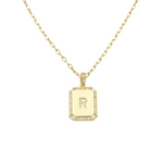 Load image into Gallery viewer, AW Boutique's gold filled 16 inch cable chain necklace finished with a dainty initial pendant with cubic zirconia detail. R initial shown.