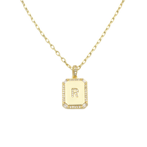 AW Boutique's gold filled 16 inch cable chain necklace finished with a dainty initial pendant with cubic zirconia detail. R initial shown.
