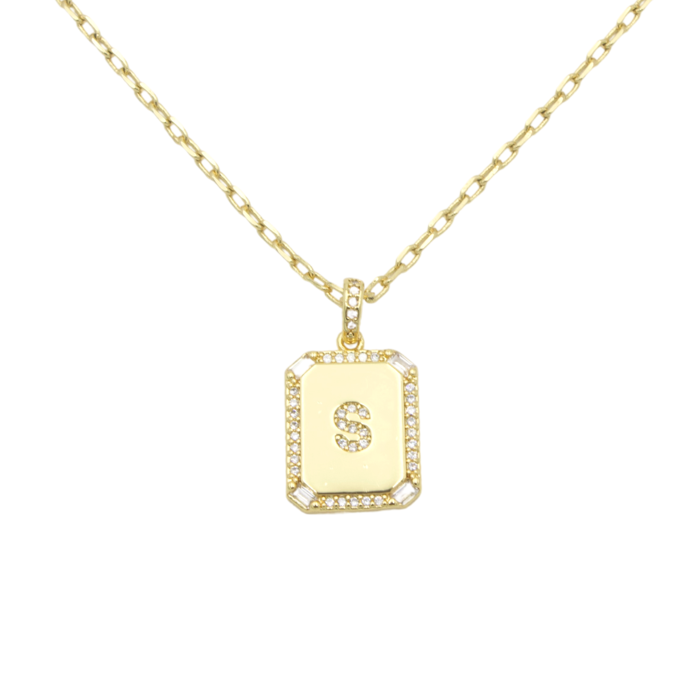 AW Boutique's gold filled 16 inch cable chain necklace finished with a dainty initial pendant with cubic zirconia detail. S initial shown.
