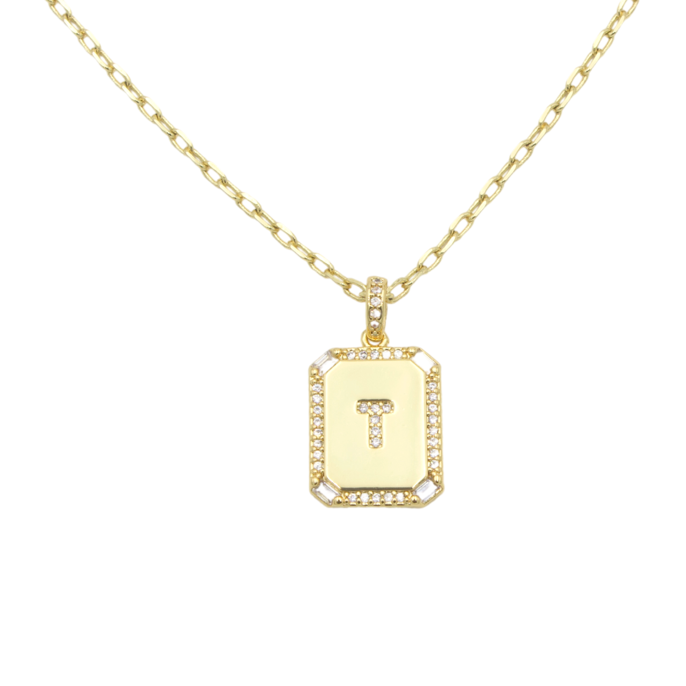 AW Boutique's gold filled 16 inch cable chain necklace finished with a dainty initial pendant with cubic zirconia detail. T initial shown.