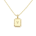 Load image into Gallery viewer, AW Boutique's gold filled 16 inch cable chain necklace finished with a dainty initial pendant with cubic zirconia detail. V initial shown.