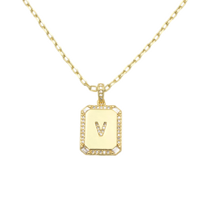 AW Boutique's gold filled 16 inch cable chain necklace finished with a dainty initial pendant with cubic zirconia detail. V initial shown.