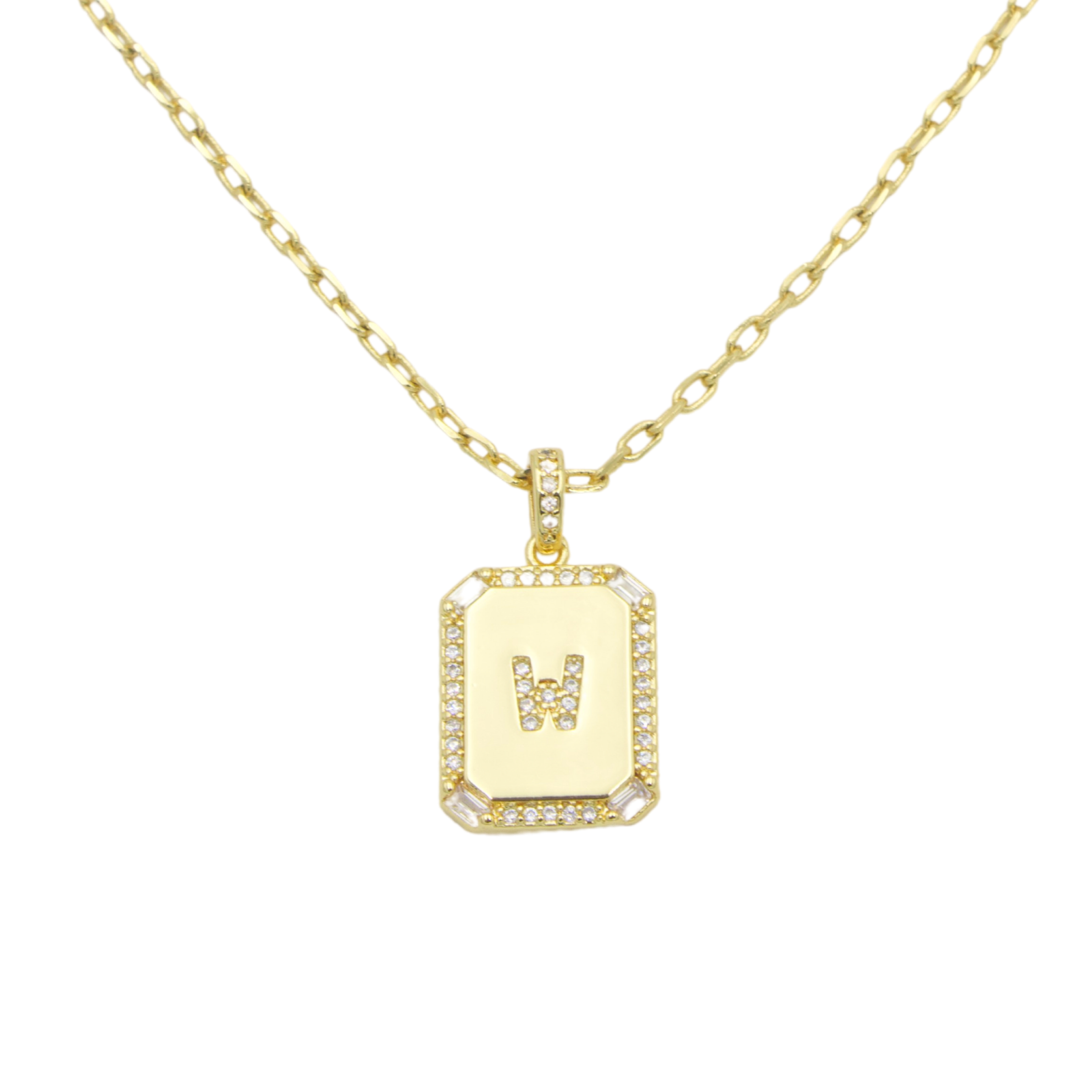 AW Boutique's gold filled 16 inch cable chain necklace finished with a dainty initial pendant with cubic zirconia detail. W initial shown.