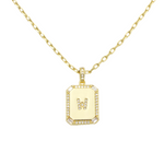 Load image into Gallery viewer, AW Boutique's gold filled 16 inch cable chain necklace finished with a dainty initial pendant with cubic zirconia detail. W initial shown.