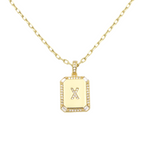 Load image into Gallery viewer, AW Boutique's gold filled 16 inch cable chain necklace finished with a dainty initial pendant with cubic zirconia detail. X initial shown.
