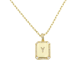 AW Boutique's gold filled 16 inch cable chain necklace finished with a dainty initial pendant with cubic zirconia detail. Y initial shown.