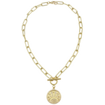 Load image into Gallery viewer, AW Boutique's gold filled 18 inch bold paper click oval chain necklace with a front toggle clasp and lucky coin medallion featuring 7 lucky symbols.