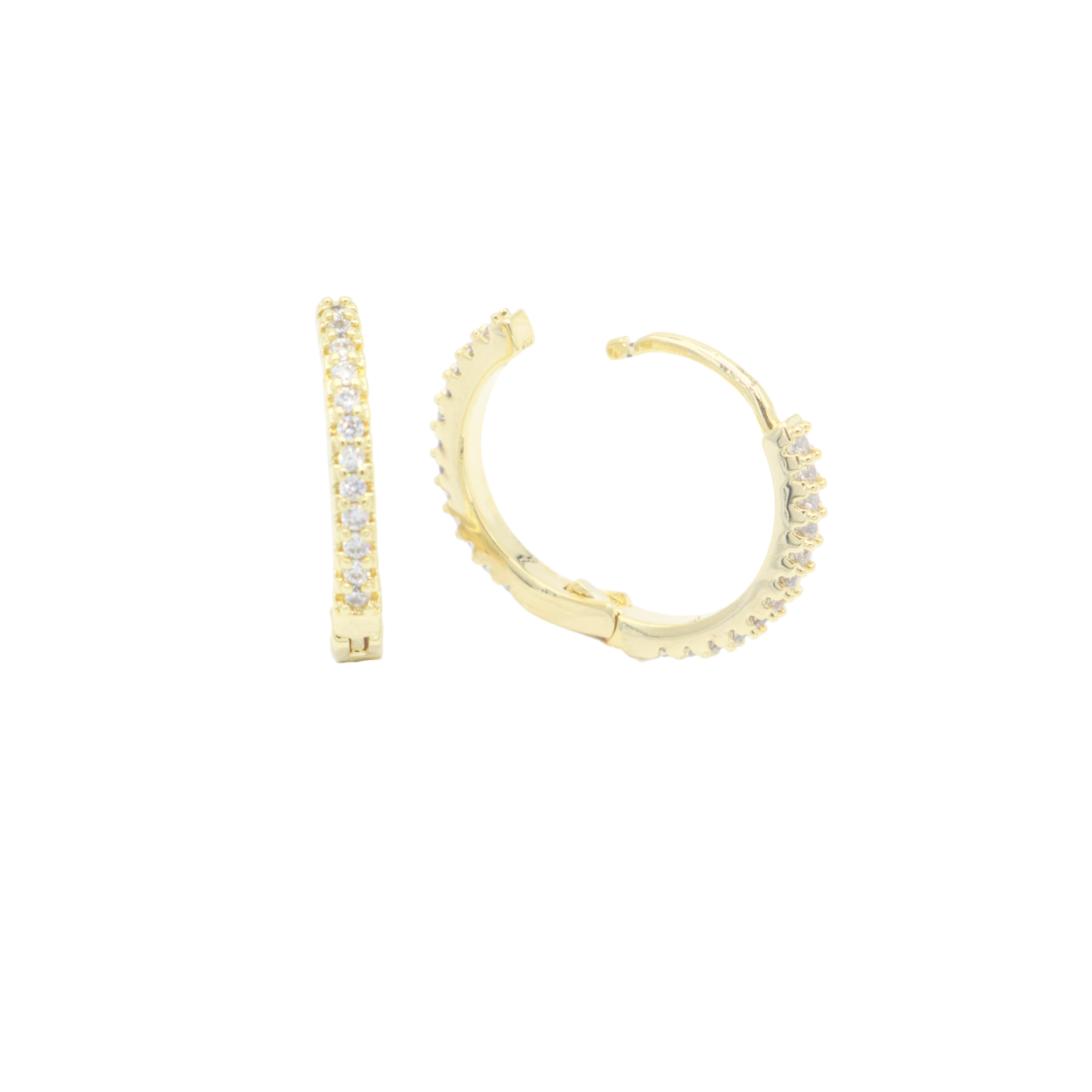 AW Boutique's gold filled micro pave cubic zirconia huggies (15mm diameter) are the perfect earring to wear alone or layered with our other earrings across multiple piercings.