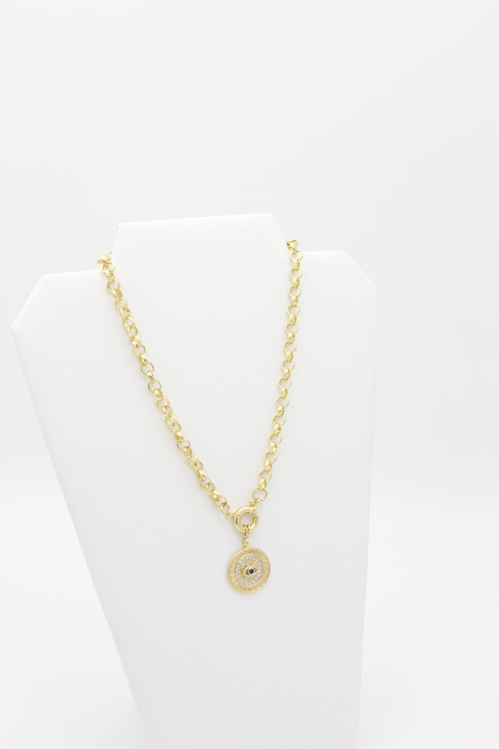 AW Boutique's gold filled 16 inch textured rolo chain (6mm link diameter) with an Evil Eye Medallion pendant featuring clear and blue cubic zirconia crystal detail.