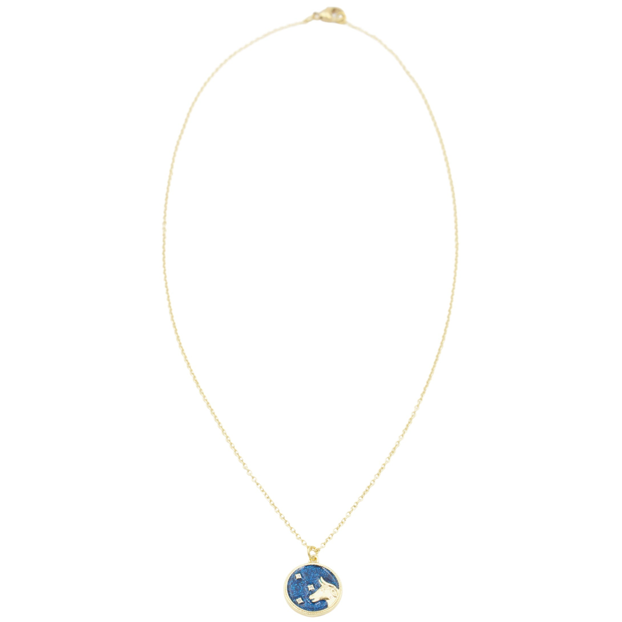 AW Boutique's Zodiac Astro Coin is a dainty pendant full of sparkle and shine.  This piece adds a pop of colour to your everyday wear and at 18 inches is a great length to mix and layer your other chains with.  Proudly wear either your own star sign or the star sign of a loved one close to your heart.  Zodiac shown is Taurus.