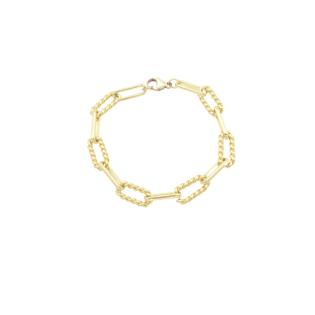 AW Boutique's Twisted Oval Link Bracelet is a beautiful, textured piece that is both bold and feminine.  The twisted links bring a softer edge to this striking link.  You can wear this gold treasure alone or layer with finer bracelets to give it an edgier look.  Whatever way you choose to wear this bracelet it will quickly become a staple.