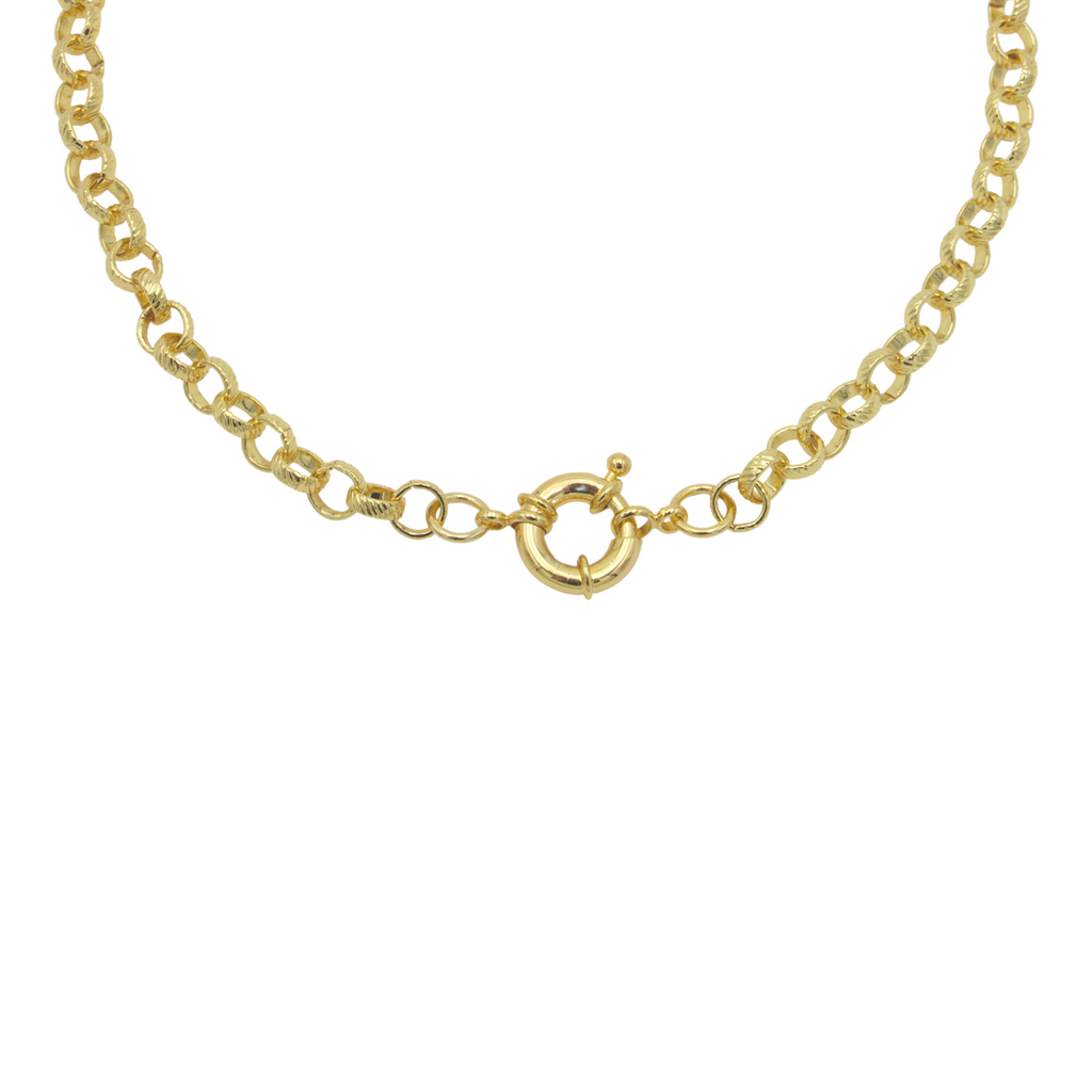 AW Boutique's gold filled 16 inch textured rolo chain necklace with a larger 6mm round link is a staple piece to layer with or wear alone for a bold statement look.