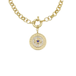 Load image into Gallery viewer, AW Boutique's gold filled 16 inch textured rolo chain (6mm link diameter) with an Evil Eye Medallion pendant featuring clear and blue cubic zirconia crystal detail.