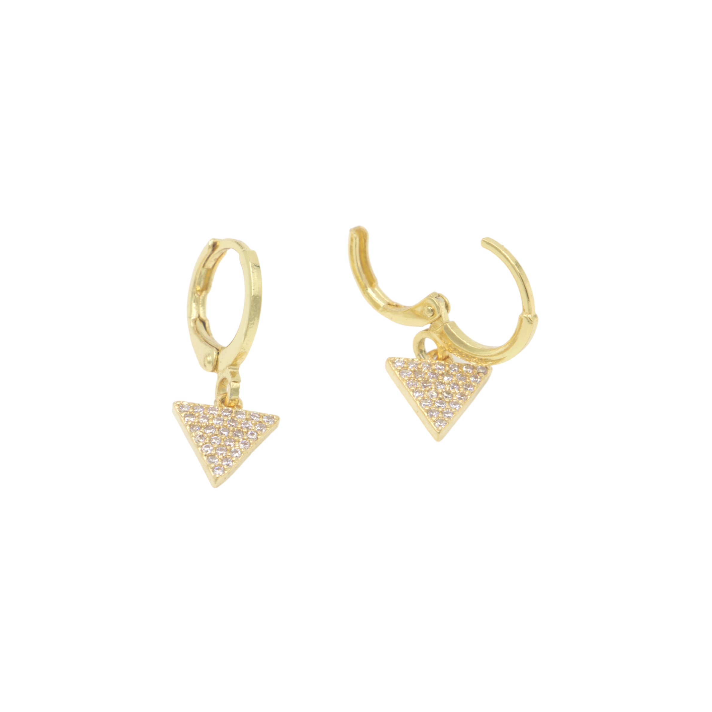 AW Boutique's gold filled huggie earrings featuring a dainty triangle shaped charm hanging off, filled with cubic zirconia crystals.