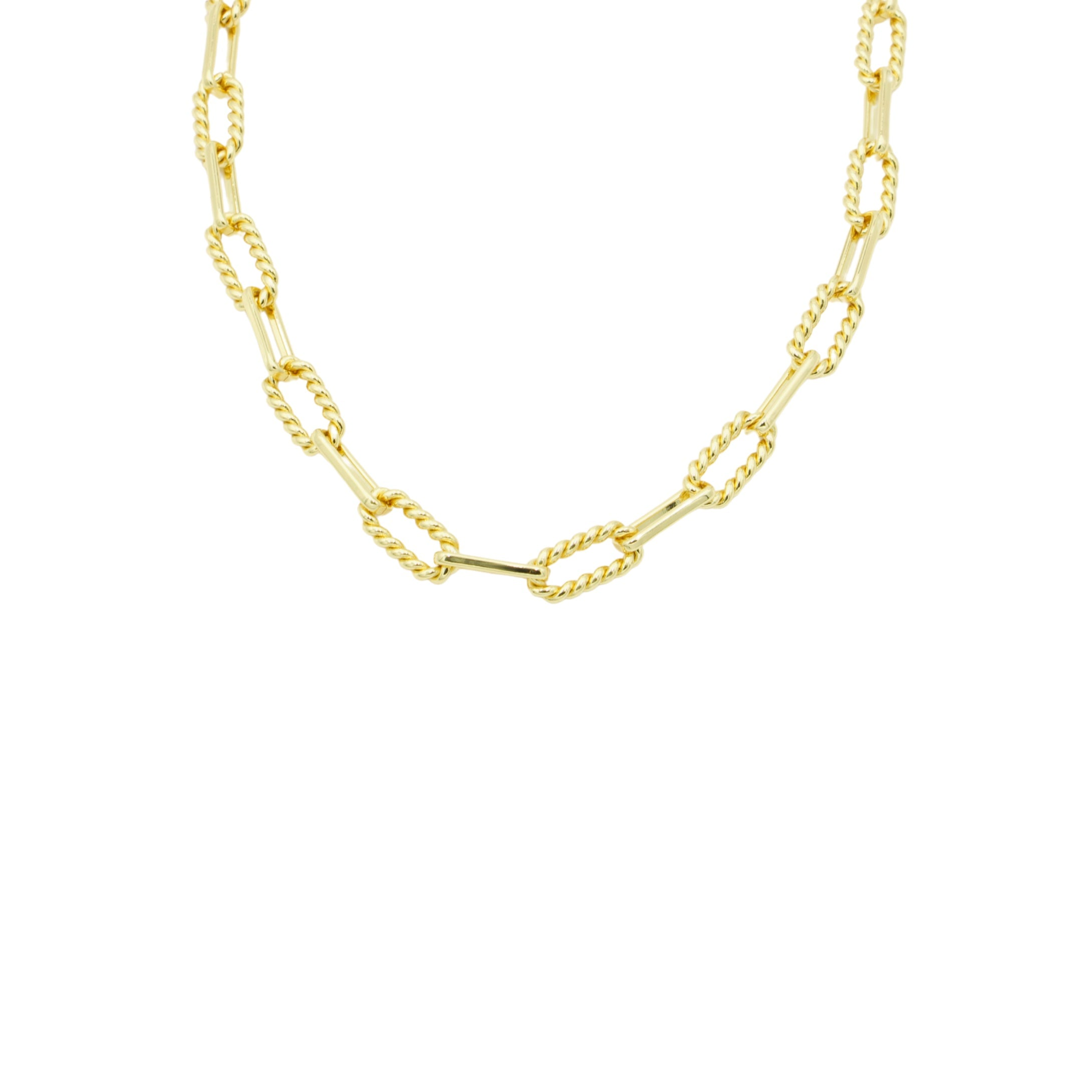 AW Boutique's Twisted Oval Link Chain is a beautiful, textured chain that is both bold and feminine. The twisted links bring a softer edge to this striking piece. Sitting at 19 inches long you can wear this gold treasure alone or layer with a finer chain to give it an edgier look. Whatever way you choose to wear this piece it will quickly become a staple.