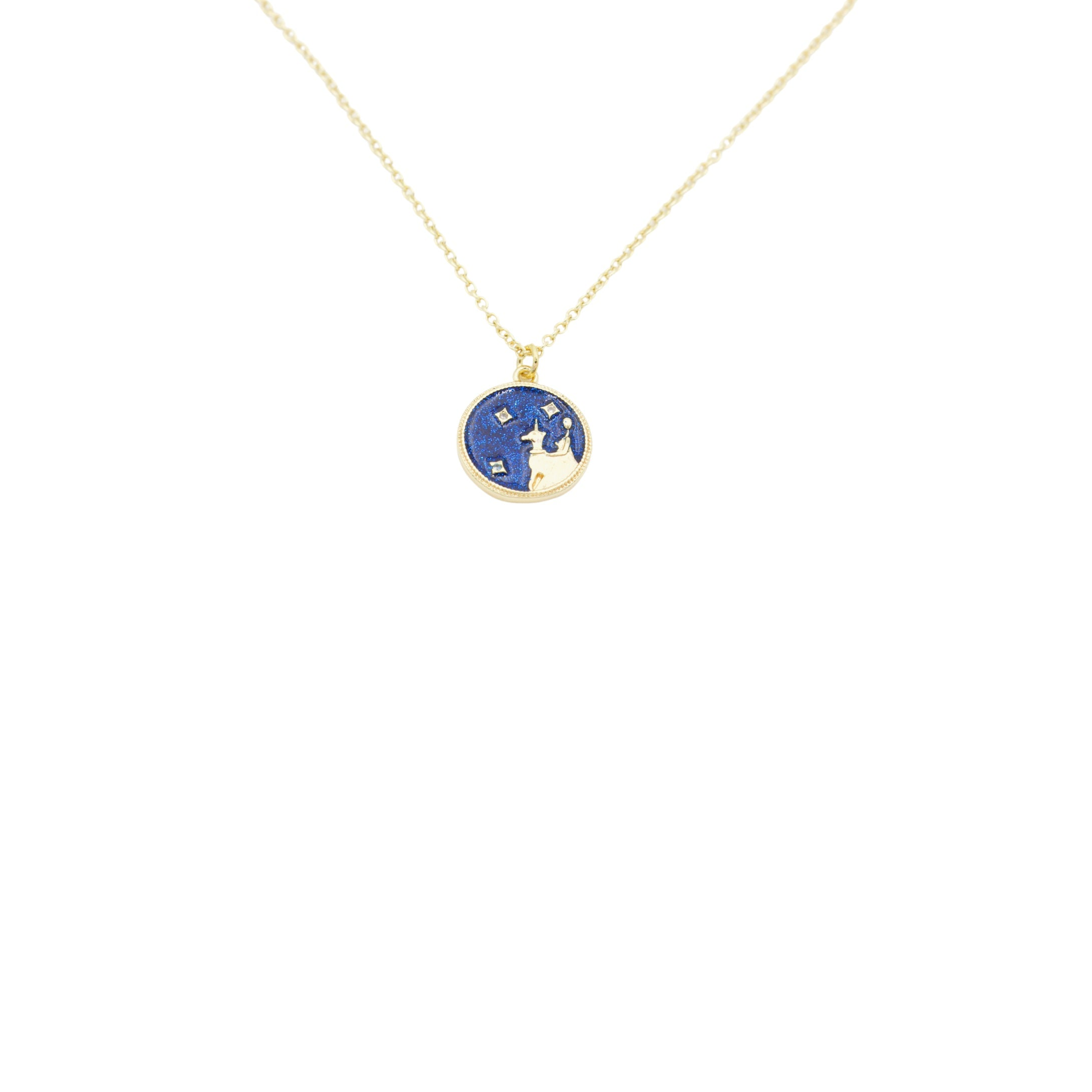 AW Boutique's Zodiac Astro Coin is a dainty pendant full of sparkle and shine.  This piece adds a pop of colour to your everyday wear and at 18 inches is a great length to mix and layer your other chains with.  Proudly wear either your own star sign or the star sign of a loved one close to your heart.  Zodiac shown is Virgo.