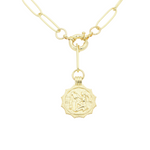Load image into Gallery viewer, AW Boutique's gold filled 18 inch paperclip oval link chain necklace with a front sailors clasp. This chain features a zodiac pendant hanging off the front sailors clasp.  Front of Aquarius pendant shown in picture.