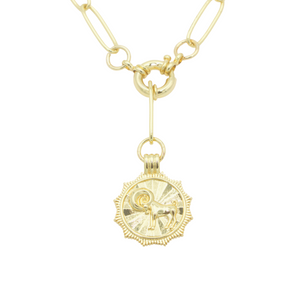 AW Boutique's gold filled 18 inch paperclip oval link chain necklace with a front sailors clasp. This chain features a zodiac pendant hanging off the front sailors clasp.  Front of Aries pendant shown in picture.