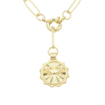 Load image into Gallery viewer, AW Boutique's gold filled 18 inch paperclip oval link chain necklace with a front sailors clasp. This chain features a zodiac pendant hanging off the front sailors clasp.  Front of Cancer pendant shown in picture.