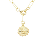 Load image into Gallery viewer, AW Boutique's gold filled 18 inch paperclip oval link chain necklace with a front sailors clasp. This chain features a zodiac pendant hanging off the front sailors clasp.  Front of Leo pendant shown in picture.