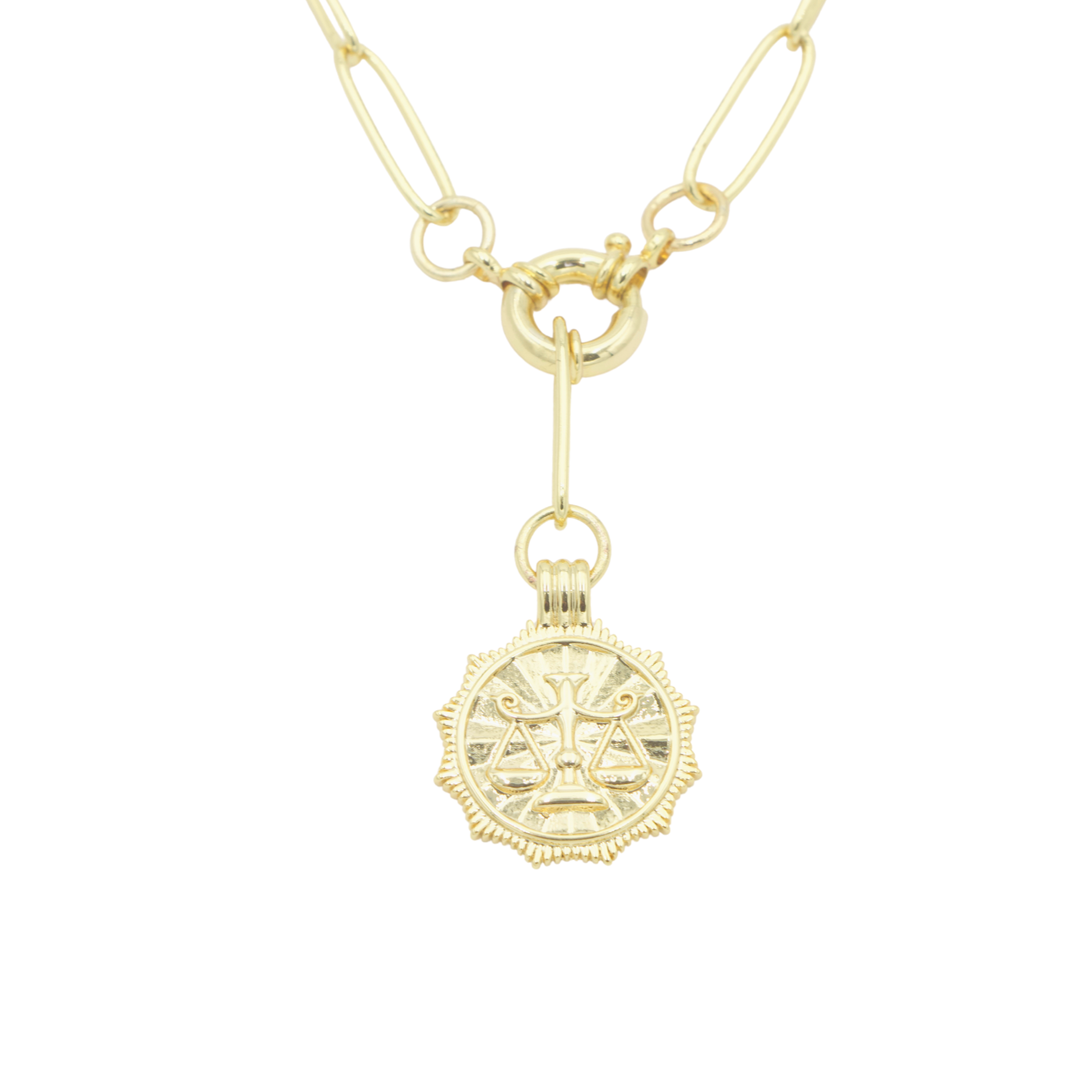 AW Boutique's gold filled 18 inch paperclip oval link chain necklace with a front sailors clasp. This chain features a zodiac pendant hanging off the front sailors clasp.  Front of Libra pendant shown in picture.