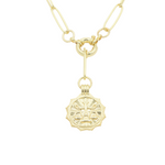 Load image into Gallery viewer, AW Boutique's gold filled 18 inch paperclip oval link chain necklace with a front sailors clasp. This chain features a zodiac pendant hanging off the front sailors clasp.  Front of Libra pendant shown in picture.
