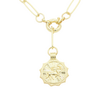 Load image into Gallery viewer, AW Boutique's gold filled 18 inch paperclip oval link chain necklace with a front sailors clasp. This chain features a zodiac pendant hanging off the front sailors clasp.  Front of Sagittarius pendant shown in picture.