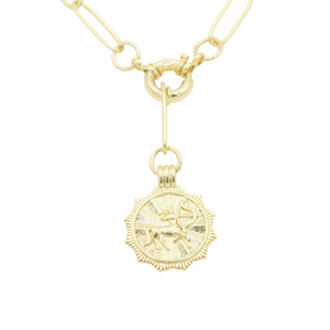 AW Boutique's gold filled 18 inch paperclip oval link chain necklace with a front sailors clasp. This chain features a zodiac pendant hanging off the front sailors clasp.  Front of Sagittarius pendant shown in picture.