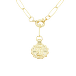 Load image into Gallery viewer, AW Boutique's gold filled 18 inch paperclip oval link chain necklace with a front sailors clasp. This chain features a zodiac pendant hanging off the front sailors clasp.  Front of Virgo pendant shown in picture.