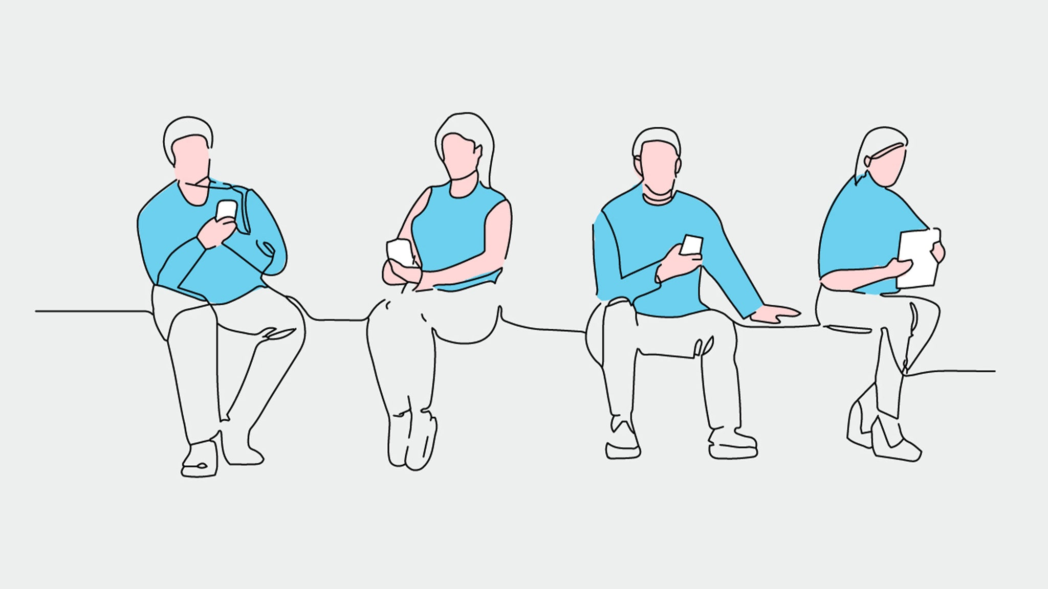 Illustration with single line of people connected to their devices.