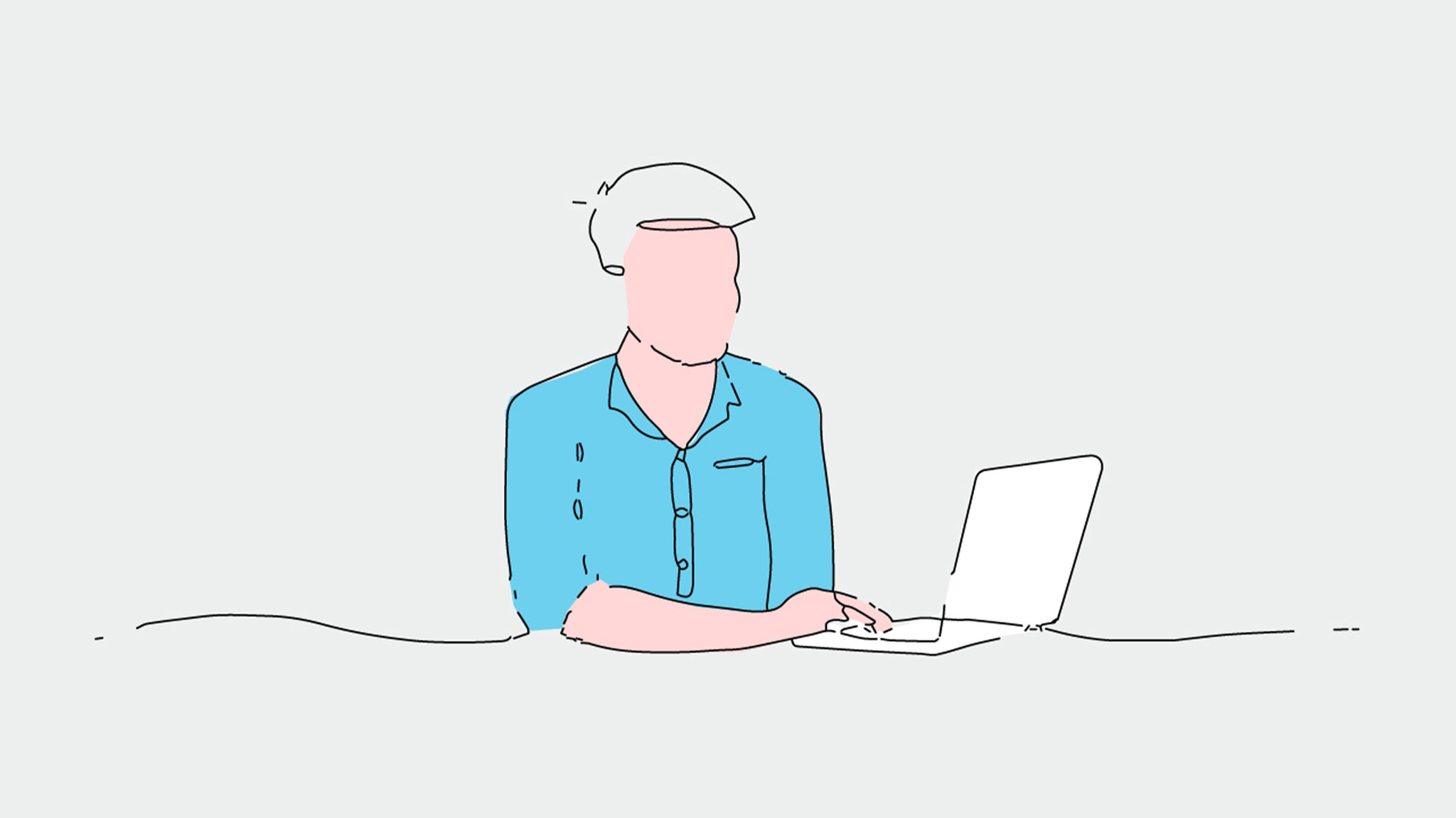 Illustration of a man on his laptop.