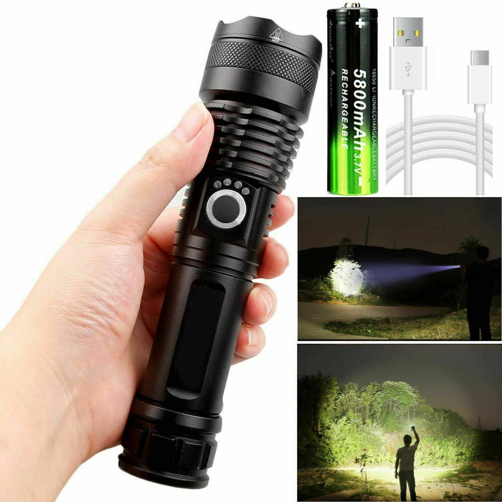 90000LM T6 LED Super Bright Zoom Flashlight Powerful Camping Torch Outdoor H9O2