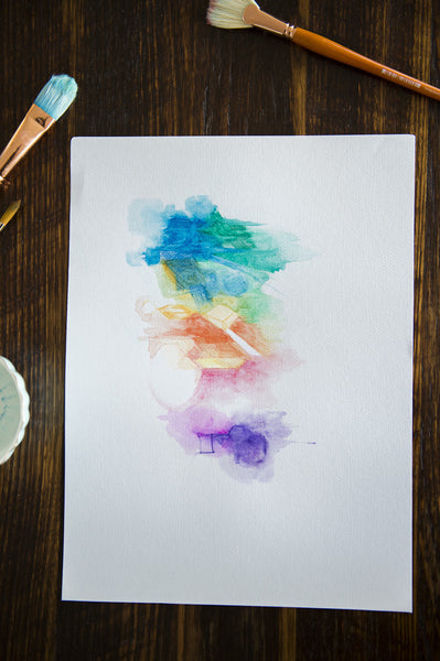 Abstract original watercolour painting on paper 'In Rainbows' www.jenniferlia.com