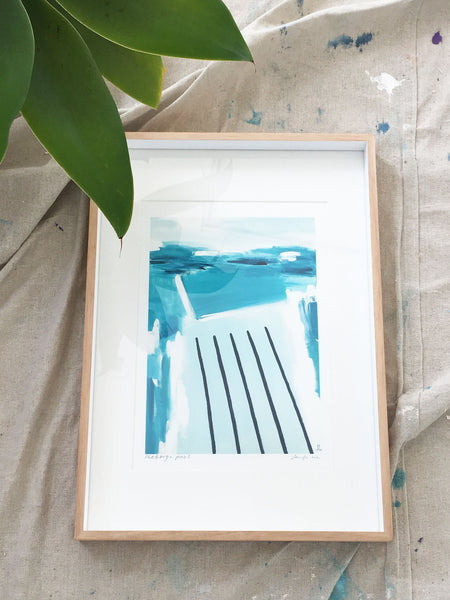 Framed abstract 'Icebergs Pool' paper print