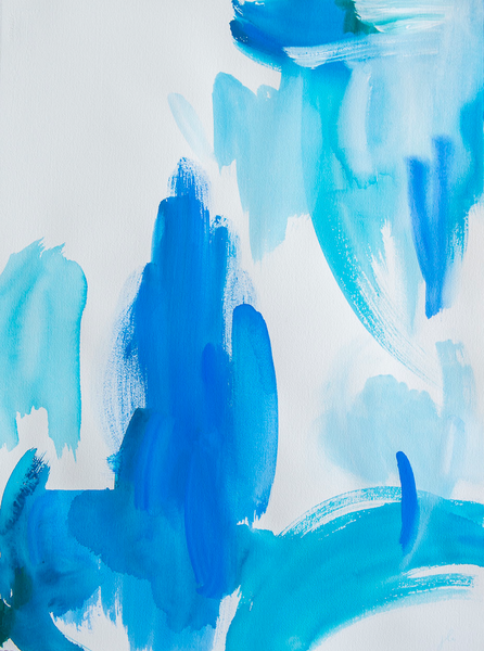 Abstract blue hues watercolour art print on paper and canvas 'Free as a Bird' www.jenniferlia.com