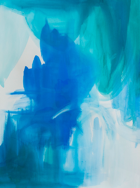 Abstract blue hues watercolour art print on paper and canvas 'Wash Over Me' www.jenniferlia.com
