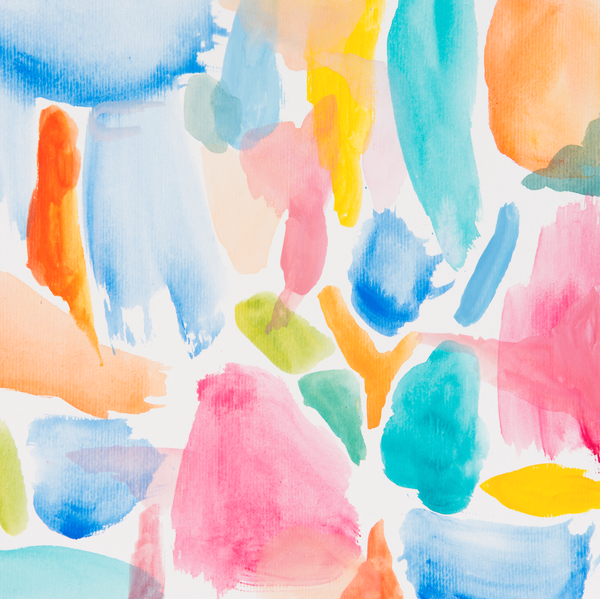 Abstract blue hues watercolour art print on paper and canvas 'Sugar Sugar' www.jenniferlia.com