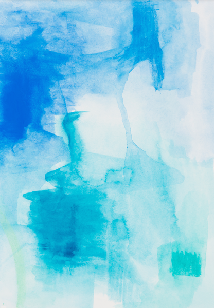 Abstract blue hues watercolour art print on paper and canvas 'Low Tide' www.jenniferlia.com